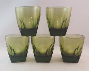 Green Beveled Vintage Juice Glasses - set of 5