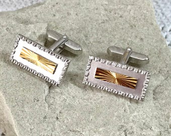Silver with Gold Cufflinks Long Oblong Shapes with a Textured Frame Pattern Layered with a Cut Sun-ray Gilt Metal   - Gift Boxed