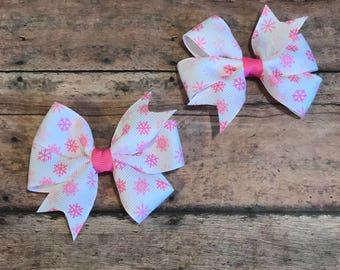 Snowflake Bow - Pink Snowflake Bow - Small Snowflake Bow - Snowflake Hair Bow - Snowflake Clippies - Pink & White Bow - Winter Hair Bow