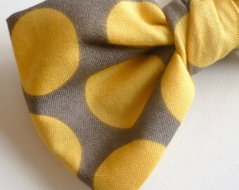 Men's Yellow and Gray Retro Dot Bow Tie - clip on, Pre-tied adjustable strap, or self tying