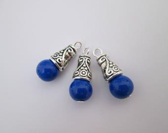 3 breloque perle bleu roi et calotte métal argenté 21 x 8 mm