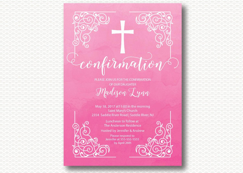 Invitación de la confirmación vintage rosa acuarela Cruz