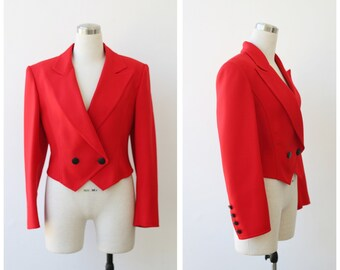 1980's Louis Feraud Red Jacket Crop Fitted Red Blazer Small Medium Cropped Jacket S M