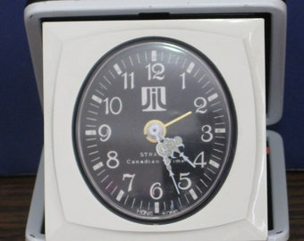 1970s / 1960s Vintage Strauss JiL Folding Compact Travel Analog Wind Up Alarm Clock