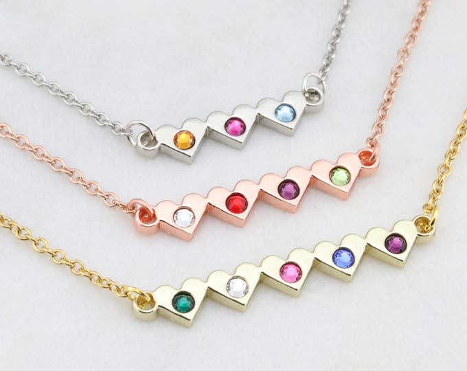 Birthstone Heart Necklace - Birthstone Bar Necklace - Birthstone Jewelry - Personalized Birthstone Necklace - Gift for Her, Mothers Necklace