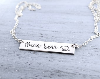 Mama Bear Bar Necklace. Calligraphy Font Hand Stamped Custom Name Bar Necklace. Mama Bear in Gold, Rose, or Sterling Silver.