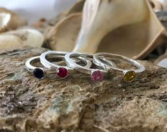Bezel Ring, Gold Bezel Ring, Stacking Rings, Stackable Rings, Birthstone Rings, Stacking Birthstone Rings, Gold Stacking Rings, Mother's Day