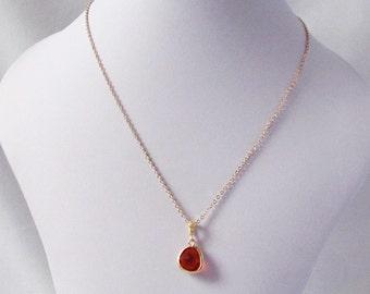 orange necklace, orange wedding, orange pendant necklace, orange bridesmaid, orange and gold necklace,