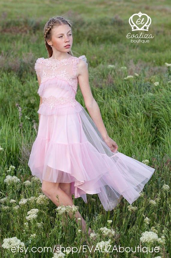 Rosa Tüll Spitze Mädchen Kleid Geburtstag Brautjungfer Party