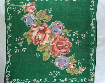 Vintage Green Handkerchief with Red Flowers
