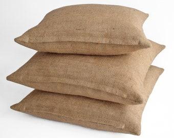 Custom Burlap Pillow Covers 16x16,18x18,20x20,24x24 decorative pillow covers, throw pillows, with sayings,with initial, couch, bed, jute