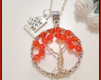 Custom Red Crystal  Birthstone Tree of Life Pendant Necklace with #1 Mom Charm