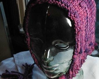 Purple Elf handspun handknit hood