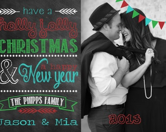 Photo Christmas Card | Chevron Chalkboard | Photo Holiday Card | Digital Christmas Card {L14}