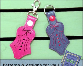 ITH Bathing Suit Key Fob - Bathing Suit Bag Tag - Vinyl Key Fob with Snap Tab - Machine Embroidery Design