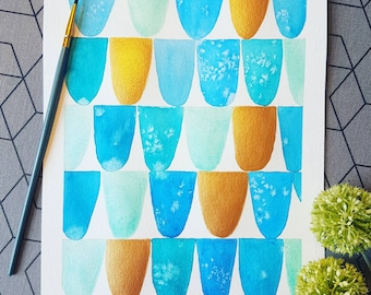 Original watercolor painting - Blue and Gold pattern.