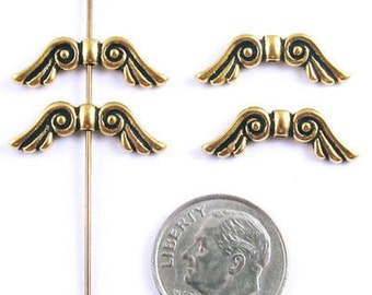 TierraCast Pewter Beads-Antique Gold ANGEL WINGS (4)