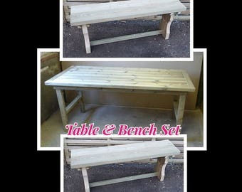 Wooden Garden Curved Legged Bench (x2) and Table Set