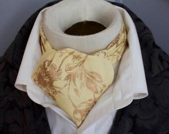 Yellow and Metallic Gold - DAY Cravat Victorian Ascot Tie Cravat - Pure Cotton