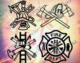 Firefighter SVG DFX Badge Logo Emblem EMS Life Hat Shirt Mug Fire Truck Hose Ladder Dept Uniform Team Flames Hot Abc Hero 1 2018 Dad Decal.