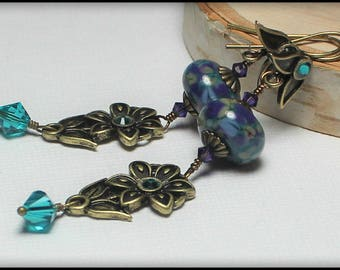 Handmade, Jewelry, Earrings, Beaded, Lampwork, Antique Brass, Teal, Turquoise, Purple, Artisan, Lampwork Earrings, Flower, Leaf, Flowers