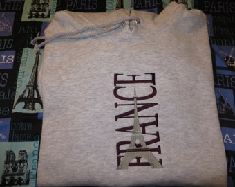 Embroidered Eiffel Tower - France Hoodie  Custom made