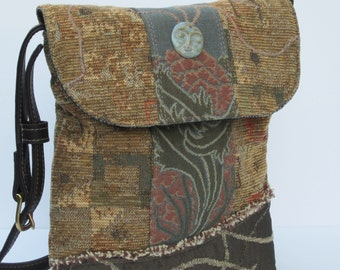 CROSS BODY Shoulder BAG by Elizabeth Z Mow  Fabric Collage with Leather Moonglow