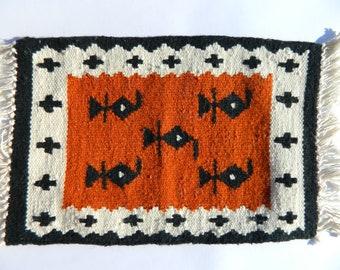 Small kilim rug, Placemat Kilim , Handmade in Albania, Wall Hanging Kilim Rug