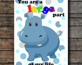 Hipopotamo Cute Card Funny Hipopotamo Card Blue Hipo Funny Card