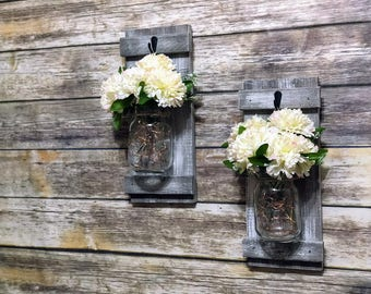 Mason Jar Lights Mason Jar Wall Sconce Fairy Lights Mason Jar Mason Jar Wall Decor Mason Jar Lighting Wood Mason Jar Lights