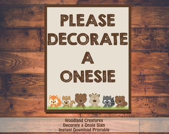 Printable Woodland Creatures Baby Shower Decorate A Onesie Sign