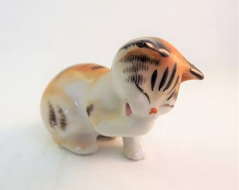 Orange Striped Cat, PICO Collectible Cat, Made in Japan Cat, Vintage Glass Cat Figurine, Striped Tabby Cat, Asian Cat, Porcelain Cat