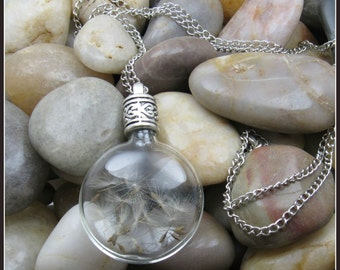 "Glass Orb Dandelion Seed Pendant on 30"" Chain"