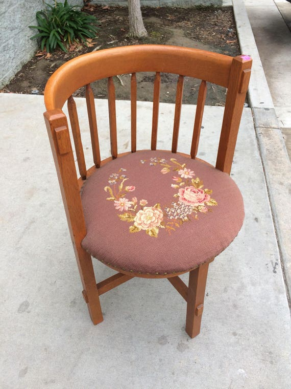 - Antique Barrel Chair Round Back Chair Needlepoint Seat Arts