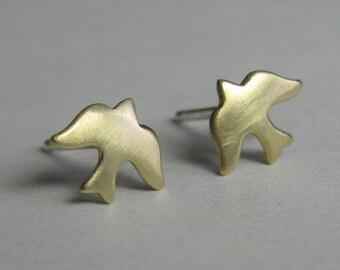 Brass Studs - Dove Earrings - Brass Doves - Brass Stud Earrings - Sterling Silver Posts -  Gift for Her - Christian Earrings