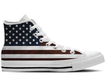 Men's High Top Sneaker with Faded US Flag and White Soles 'US Flag White' - Red/White/Blue