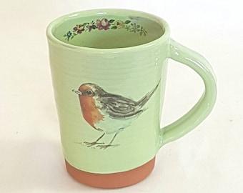 Robin mug, country kitchen, handmade pottery mug, bird lovers gift, nature lovers gift, gift for bird lover. bird lovers, bird art