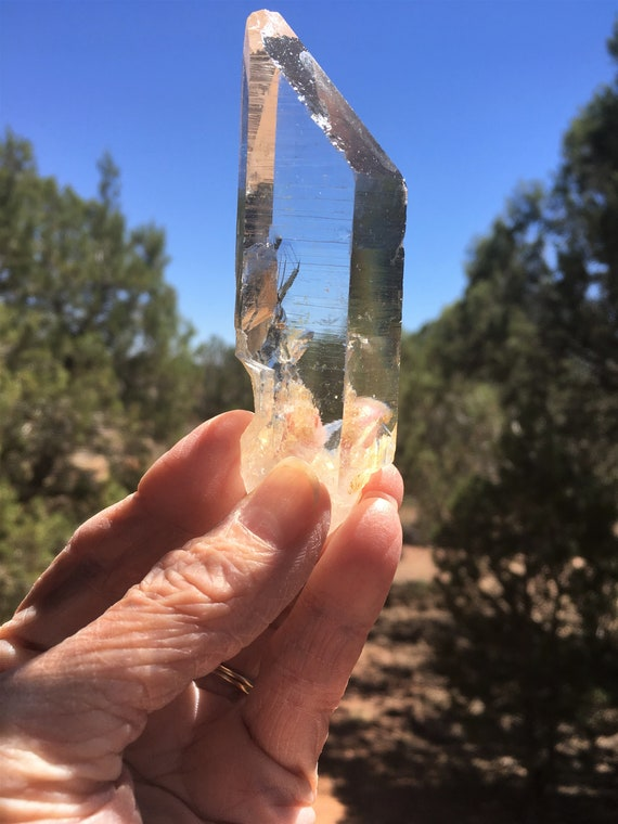 "Almost 4"" long, CLEAR LEMURIAN TABBY Receiver Quartz Crystal Sedona Vortex & Reiki Charged Metaphysical Quartz for Communication and Growth"