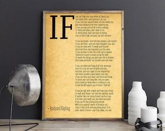 IF Poem Art Print IF Poem by Rudyard Kipling Art Print IF Poster If Poem Poster If Poem Print If Poem Wall Art If you can If by Kipling Poem