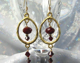 SALE-Red Crystal and Gold Double Dangle Earrings