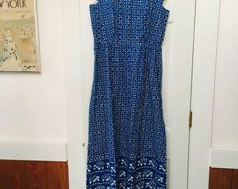 Vintage Malia Honolulu blue dress With Turtle print