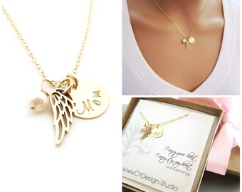 Mom / Dad Angel Wing Necklace - Memorial Necklace - Sympathy Necklace - Loss Necklace - 14k Gold Filled - Memorial Jewelry