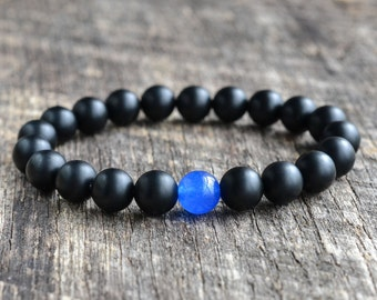 8mm Royal Blue Jade Bracelet Matte Onyx Bracelet Mens Bracelet Black Bead Bracelet Gemstone Bracelet Mens Womens Yoga Bracelet Gifts