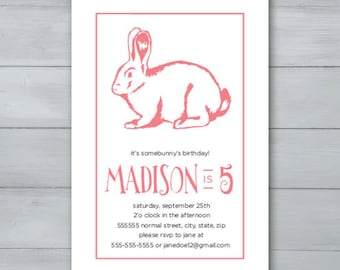 Bunny Birthday Party Invitation  |  Bunny Invite  |  Rabbit Birthday Invitation  |  Rabbit Invite