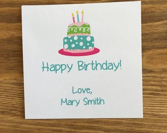Birthday Cake Gift Sticker or Card