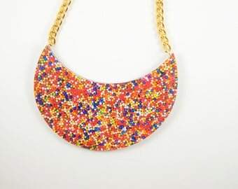 Statement Necklace, Chunky necklace, Sprinkles necklace, Sprinkles Jewelry, Colorful jewelry,Colorful necklace, Wooden necklace,Gift for her