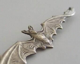 Bat Pendant - Vintage Brass -  Vampire Bat - Vintage Pendant - Brass Pendant - Statement Necklace - Large Pendant - DIY Necklace