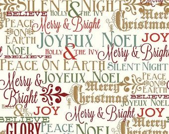 Postcards for Santa fabric, Riley Blake Designs, Greetings in Gold Sparkle (SC4751-Gold) -- BY THE YARD