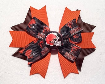 """Cleveland Browns 5"""" Stacked Boutique Pinwheel Hair Bow on Lined Clip - Cleveland Browns Football Inspired! Browns Helmet Center"""