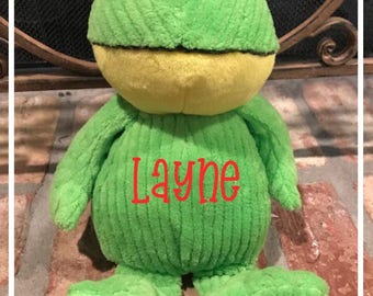"""Personalized Valentine Plush Cord Frog 11"""" Tall"""